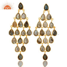 18k yellow gold over sterling silver labradorite gemstone chandelier earrings