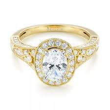 two tone yellow gold diamond halo enement ring