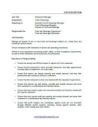 Food And Beverage Manager Job Description Template Food And Beverage ...