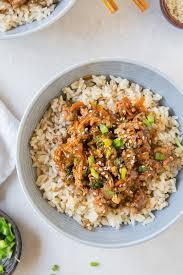 healthy teriyaki turkey rice bowl