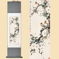 online cheap chinese silk watercolor flower and three birds magnolia tree feng shui ink art wall picture damask framed scroll canvas painting by agung  on damask framed wall art with online cheap chinese silk watercolor flower and three birds magnolia