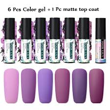 FOUR LILY <b>7pcs</b>/<b>set Color Gel Nail</b> Polish Matte Top Coat Soak Off ...