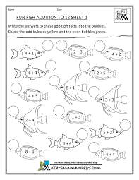 0cfc77e266080519b68ee0a493a48f7e homeschool math worksheet fun addition to 12 fish 1 first grade on kindergarten math facts worksheets