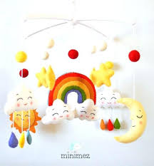 moon and stars baby mobile rainbow clouds nursery cot crib bedding sets rainbo