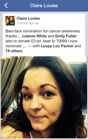 claire louise stanleick encourages friends on facebook to donate with her makeup free selfie