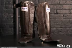 boon brown leather shin pads