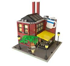 lego office building. this coffeeshop has office space above the store lego building