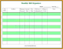 Bill Tracker Template Excel Bill Spreadsheet Organizer Monthly Template Free Business