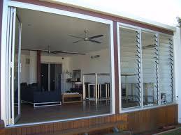 glass bi fold door and louvre windows