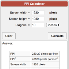 Monitor Ppi Chart Pixels Per Inch Ppi Calculator