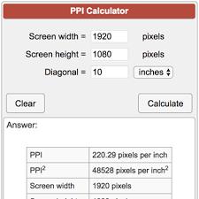Pixels Per Inch Ppi Calculator