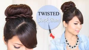 Twisted Hair Style twisted sock bun updo hairstyle long hair tutorial youtube 8830 by wearticles.com