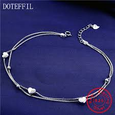 <b>New 925 Silver Anklet</b> Woman Charm Heart Pendant 100% Silver ...