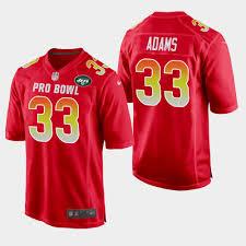 Jamal Jets York Afc Jersey Bowl - Red Adams 2019 33 New Game Men's Pro