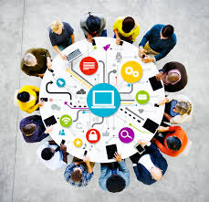 people at a round table with networking graphic