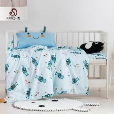 parkshin child cartoon antenna baby blue active printing bedding set 100 cotton soft protect kids skin comfortable bedspread twin comforter sets king