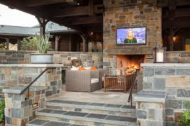country flagstone patio with stone fireplace tv niche country outdoor fireplace with tv