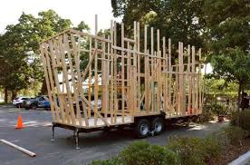 tiny house construction. Workers With Total Property Solutions Build The Frame Of A Tiny House Under Construction In Pleasant