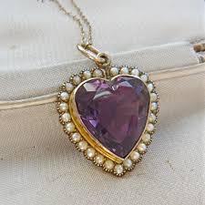 edwardian 9ct gold amethyst pearl heart pendant