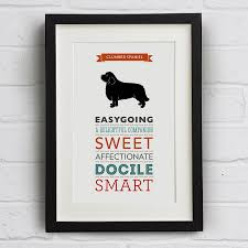 clumber spaniel dog breed traits print