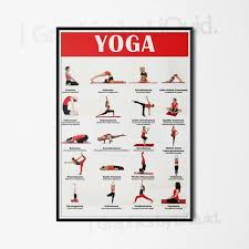 Yoga Poses Poster Exercise Chart Yoga Instruction A4 A3 A2 A1