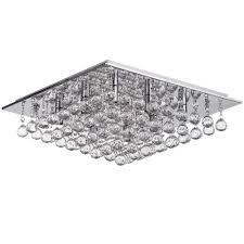 galaxy 8 light square flush ceiling light chrome