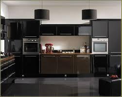 Kitchen Ideas With Black Appliances Black Wood Laminated Floor ...