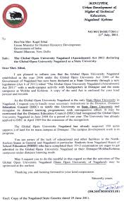 the global open university education for all  letter for hon ble kapil sibbal from the hon ble chief minister of nagaland about the global open university nagaland