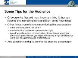 tips for the presentation lecture advanced topics in informatio powerpoint 9