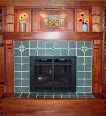 arts crafts fireplace 106 blue special field tile with rookwood compass board