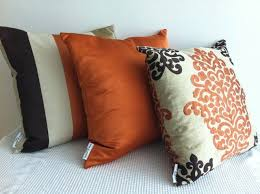 set of 3 damask orange dark brown and