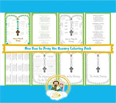 A fee coloring page of each mystery of the rosary. The Rosary Coloring Worksheets Teaching Resources Tpt