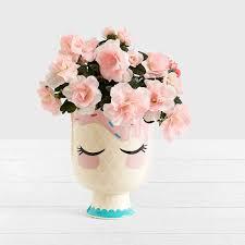 Big Flower Vase Design Girl Ceramic Vase Cute Beauty Flower Big Mouth Pot Wedding Party Desk Vase Decoration Gift For Girl Friend Table Flower Bottle