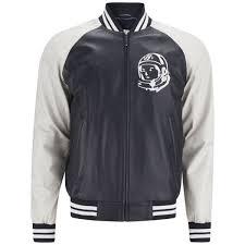 billionaire boys club men s astro leather varsity jacket navy ecru image 1