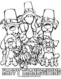 Small Picture Free Printable Thanksgiving Coloring Page Dogs and Turkey Woof