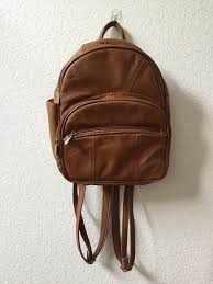 brown leather mini backpack purse by roadrat on