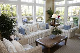white living room furniture small. Cottage Style Solarium Living Room With Beige And White Striped Furniture, One Armchair Being A Furniture Small L