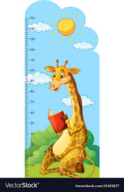 Growth Chart Ruler With Giraffe Reading Book