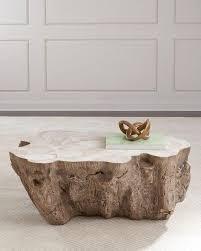 brown tree trunk motif coffee table