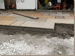 flagstone driveway under construction