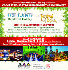 november 11 january 7coolest holiday destination in the southwestice landfeativalrainforest holidaveight holiday attractions one venueice