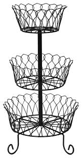 home district 3 tier iron fruit basket stand countertop wire food storage traditional fruit bowls and baskets by universal direct brands