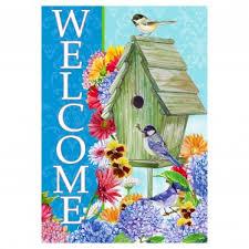 garden flags. Spring Garden Flag - Welcome Birdhouse Flags