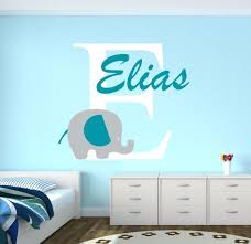 boy name wall decals custom name elephant wall stickers for kids room  personalized boys custom name . boy name wall decals ...