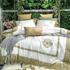 cream white golden lace luxury royal cotton bedding set king queen size duvet cover bed linen