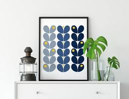 blue and yellow wall art navy blue