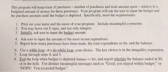 Solved This Program Will Keep Track Of Purchases Number