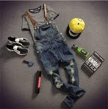 <b>2015 NEW</b> Mens <b>Fashion</b> Hole Pocket Denim Overalls Male <b>Casual</b> ...