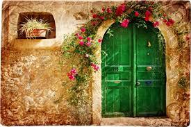 old door of greek island abstract custom wallpaper