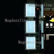 double sided frame portrait cable hanging double sided acrylic frame led edge lit display panel light